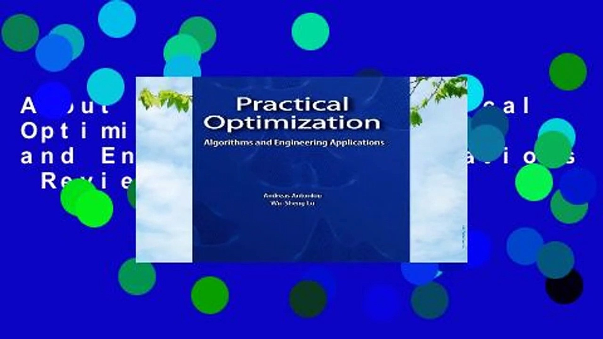 Practical Optimization Algorithms And Engineering Applications