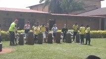 Spectacle de percussions pour les élèves de Saint-Henri au Rwanda