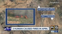 Three northwest Maricopa County fires caused by humans, officials say