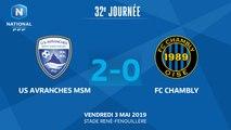 J32 : US Avranches MSM - FC Chambly (2-0), le résumé