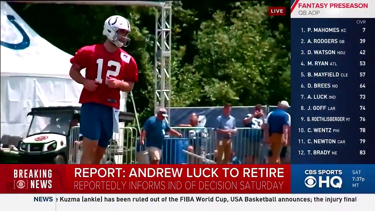 Colts QB Andrew Luck to retire from NFL, effective immediately – BREAKING NEWS