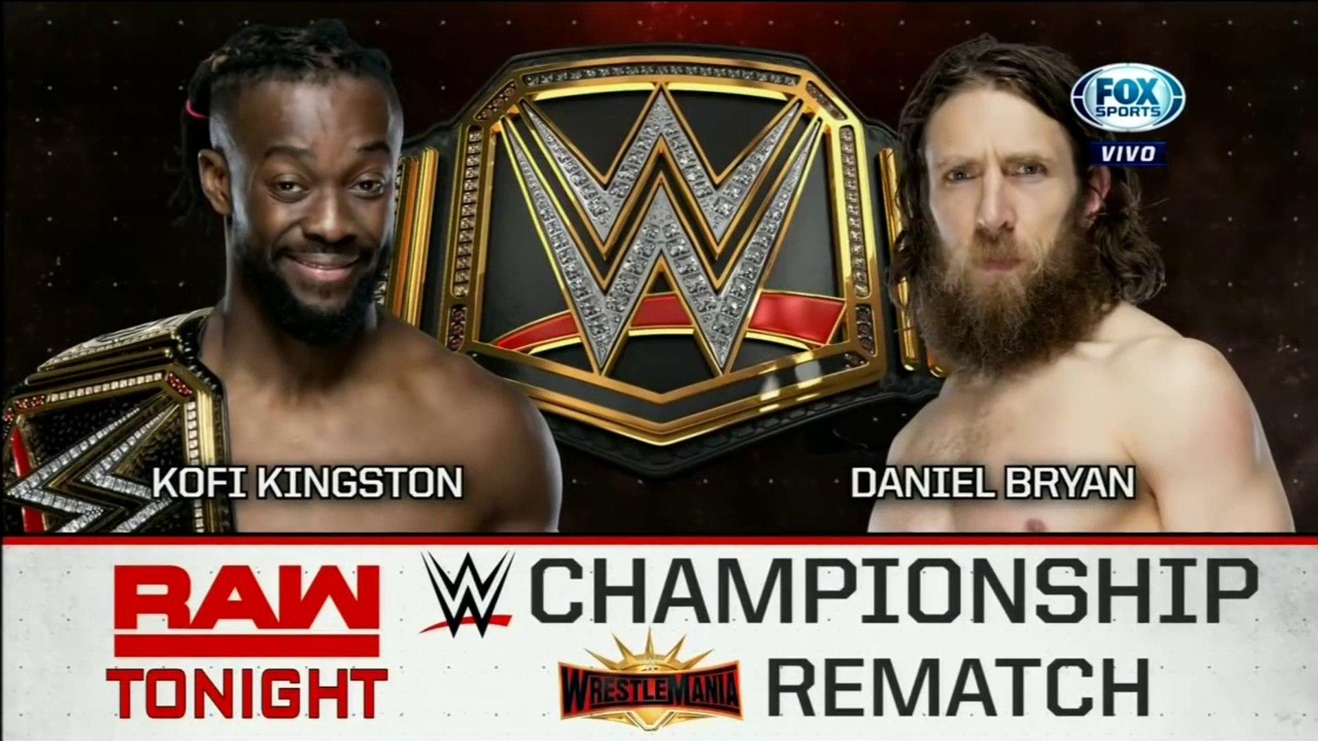 WWE Raw: Kofi Kingston vs. Daniel Bryan - Revancha de WrestleMania por el Campeonato de WWE | Españo