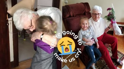Moment Girl, 4, Meets Great Gran For First Time Ever