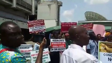 Seasoned Nollywood stars led by Ejike Asiegbu protest killing in Northeast Nigeria at National Stadium, Surulere, Lagos