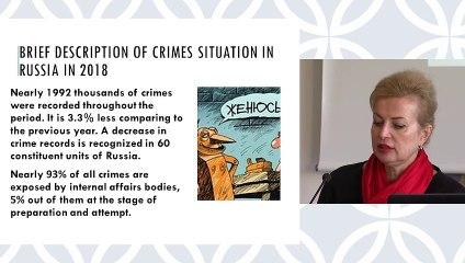 """""""Today's criminal law policy of Russia / La politique pénale de la Russie aujourd'hui"""", Liudmila Bukalerova, titulaire de la Chaire du département de droit pénal, de l'Université de l'Amitié entre les peuples (RUDN), Moscou"""