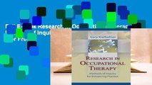 Full E-book Research in Occupational Therapy: Methods of Inquiry for Enhancing Practice  For Free