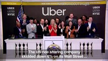 Uber CEO Dara Khosrowshahi rings the bell at the New York Stock Exchange