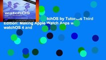 [NEW RELEASES]  watchOS by Tutorials Third Edition: Making Apple Watch Apps with watchOS 4 and