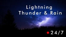 THUNDERSTORM & RAIN 24/7 Thunder an Rain,  Lightning Strikes at Night, Storm