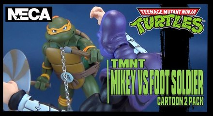 Teenage Mutant Ninja Turtles Cartoon Michelangelo vs Foot Soldier | NECA Figure Set Review!