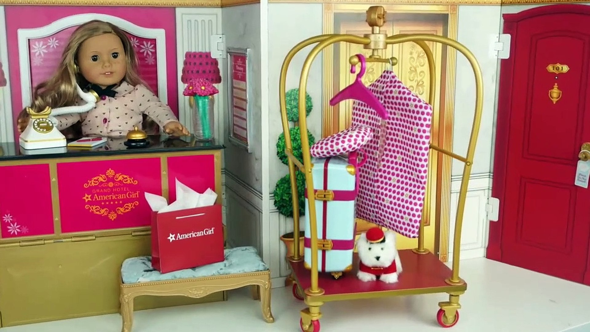 Toy Hotel Play Set -  Doll Bedroom Bathroom   American Girl Grand Hotel Full Collection