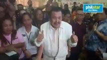 Reelectionist Manila Mayor Joseph Estrada successfully casts his vote at the P. Burgos Elementary School