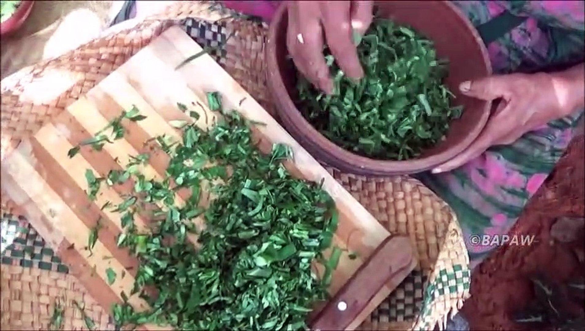 Des Aliments sains de Cuisson / Vert des Feuilles de Taro dans mon Village, ma Mère / la Vie du Vill