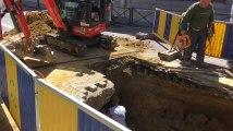 Ixelles: énorme trou chausse de Boondael à cause d'une fuite d'eau (vidéo Germani)