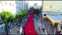 1919 metre Türk bayrağı ile yürüyüş gerçekleştirildi