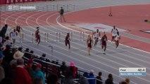 Sprinter dives over finish line