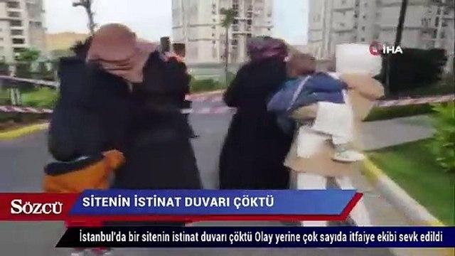 İstanbul'da bir sitenin istinat duvarı çöktü