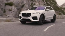 The Jaguar F-PACE SVR 550PS AWD in Fuji White Driving in Southern France