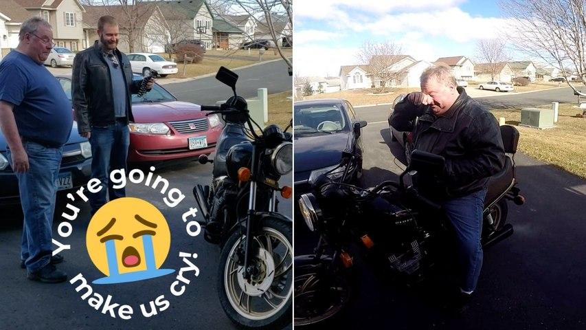 Son Surprises Dad With Beloved Motorcycle After Secretly Restoring It