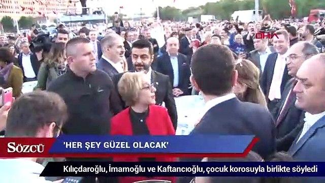 Kılıçdaroğlu, İmamoğlu ve Kaftancıoğlu, çocuk korosuyla birlikte söyledi