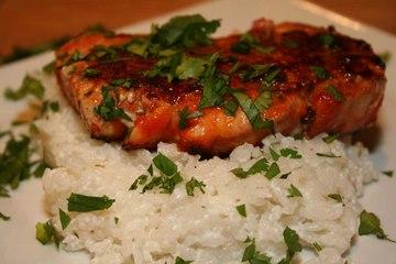 Sriracha Pork Chops and Coconut Rice