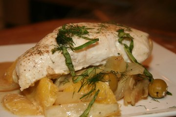 Roasted Halibut with Green Olives, Oranges and Fennel