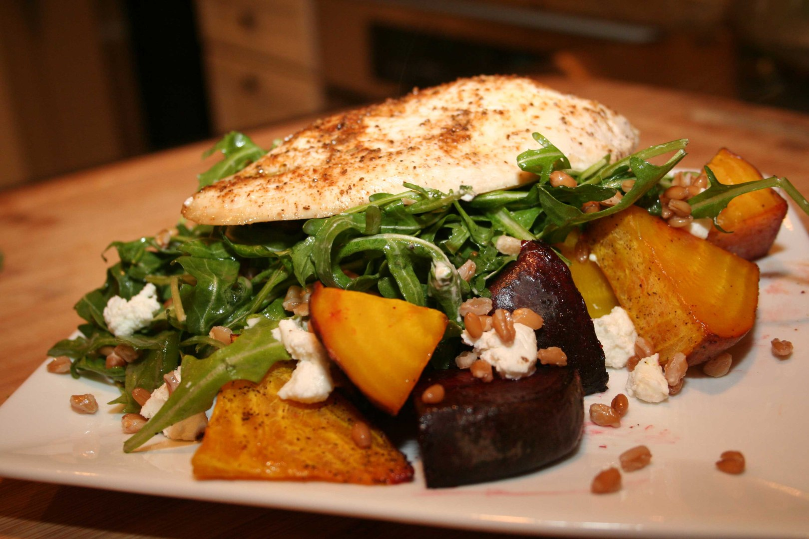 Farro Salad with Roasted Beets and Chicken