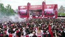 Ajax celebrate with fans in Amsterdam after winning their 34th Eredivisie title
