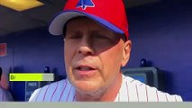 (Subtitled) 'I like the noise' - Bruce Willis swaps acting for hitting baseballs with the Phillies