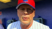 'I like the noise' - actor Bruce Willis enjoys hitting baseballs with the Phillies