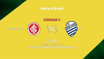 Previa partido entre Internacional y CSA Jornada 5 Liga Brasileña