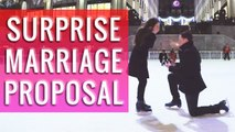 Surprise Marriage Proposal in the centre of Rockefeller Ice skating ring, New York  || WooGlobe