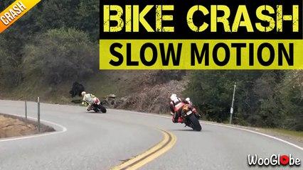 Slow Motion Bike Crash On Highway