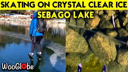 Skating on 12CM Crystal Clear Ice || Sebago Lake || Wooglobe