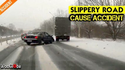 Slippery Road Cause Accident in Ryazan Russia