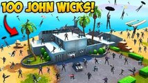 100 JOHN WICKS LAND AT JOHN WICKS HOUSE! - Fortnite Funny Moments!