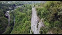 Nail-biting footage shows UK family teeter along 300ft-high 'Giddy Edge' footpath