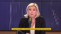 """Vincent Lambert : """"Il ne m'apparaît pas que ça correspond à l'esprit de la loi Leonetti""""affirme Marine Le Pen : """"C'est une décision de justice qui condamne à la mort alors qu'on n'est pas dans un cas d'acharnement thérapeutique"""""""