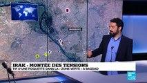 """Tir d'une roquette dans la """"zone verte"""" à Bagdad"""