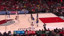 Kawhi Leonard laughs at Damian Lillard making Alfonzo McKinnie fall with crossover dribble during Game 4 Blazers vs Warriors 5-20-19