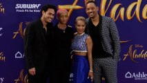 "Will Smith, Jaden Smith, Jada Pinkett Smith, Trey Smith ""Aladdin"" World Premiere Purple Carpet"