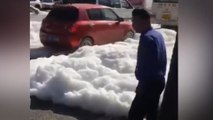 White foam bursts out of manholes, submerging streets in Xian