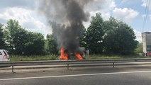 Près de Rennes. Un véhicule en feu sur la RN 12, la circulation ralentie