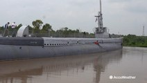 World War II submarine sinking in historic flooding