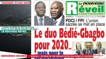 Le Titrologue du 24 Mai 2019 : L'union sacrée se met en place pour le duo Bédié-Gbagbo en 2020