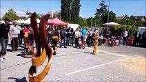 La performance du sculpteur Jacques Pissenem au rassemblement Harley de Louhans
