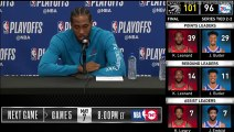 Kawhi Leonard Postgame Interview - Game 4   Raptors vs 76ers   2019 NBA Playoffs