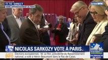 Européennes: Nicolas Sarkozy a voté dans le 16e arrondissement de Paris