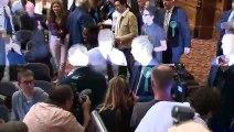 Farage arrives for European Election results