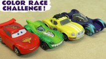 Hot Wheels Learn Colors Race Challenge when racers Learn English with Disney Pixar Cars 3 Lightning McQueen vs Marvel Avengers 4 Endgame & DC Comics Justice League with Transformers and Frozen Queen Elsa
